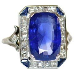 Art Deco Platinum 8.52 Carat No Heat Ceylon Sapphire Diamond Ring
