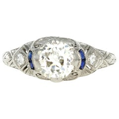 Art Deco Platinum .90 Carat Old European Cut Diamond Engagement Ring