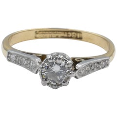 Art Deco Platinum and 18 Carat Yellow Gold Diamond Engagement Ring