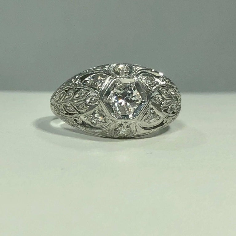 Art Deco Platinum and 18 Karat Gold European Cut Diamond Dome Engagement Ring In Excellent Condition For Sale In Mansfield, OH