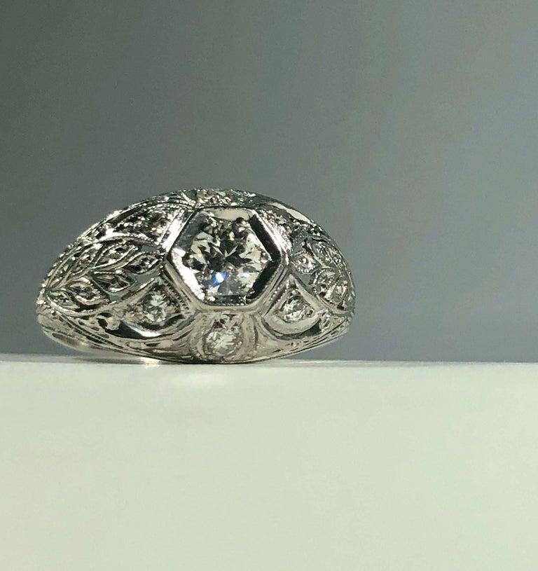 Art Deco Platinum and 18 Karat Gold European Cut Diamond Dome Engagement Ring For Sale 3