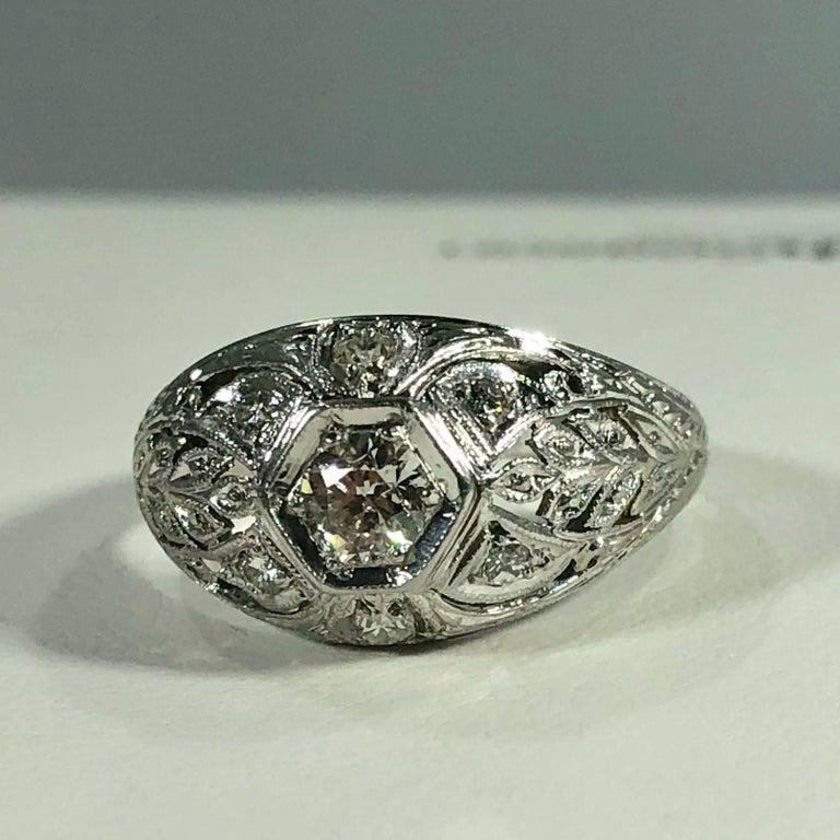 Art Deco Platinum and 18 Karat Gold European Cut Diamond Dome Engagement Ring For Sale 4