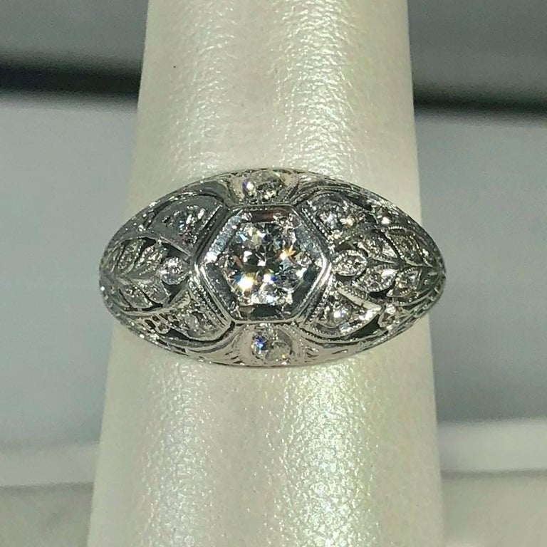 Art Deco Platinum and 18 Karat Gold European Cut Diamond Dome Engagement Ring For Sale 5