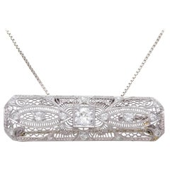 Art Deco Platinum and 18 Karat Gold Pendant 1.85 Carat Diamond Pendant or Brooch