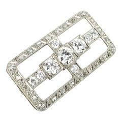 Art Deco Platinum and 18 Karat White Gold Diamond Brooch Pin, 1920s