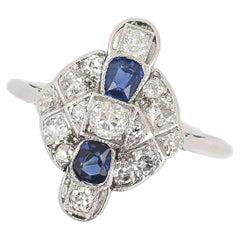 Art Deco Platinum and 18ct Gold Sapphire and Diamond Plaque Ring, Circa 1925