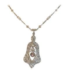 Art Deco Platinum and Cognac Diamond Drop Necklace
