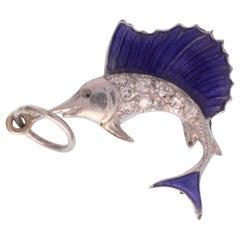 Art Deco Platinum and Diamond and Blue Enamel Swordfish Charm