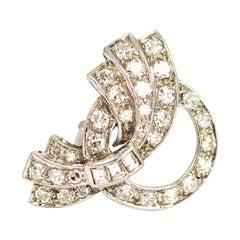 Art Deco Platinum and Diamond Clip Brooch