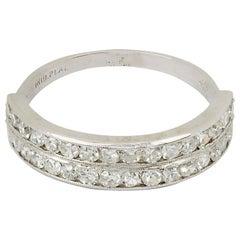 Art Deco Platinum and Diamond Double Row Ring