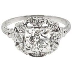 Art Deco Platinum and Diamond Engagement Ring, circa 1930