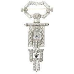 Art Deco Platinum Diamond Lapel Watch, circa 1930