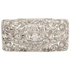 Art Deco Platinum and Diamond Pendant Brooch