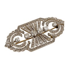 Art Deco Platinum and Diamond Pin Brooch