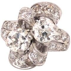 Art Deco Style Platinum and Diamond Ring 1.90 Carat