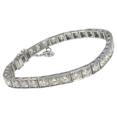 Art Deco Platinum and Diamond Straight Line Bracelet