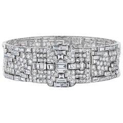 Art Deco Platinum and Diamond Strap Bracelet by Henri Lavabre, Paris, circa 1930