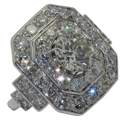 Art Deco Platinum and Diamonds French Ring