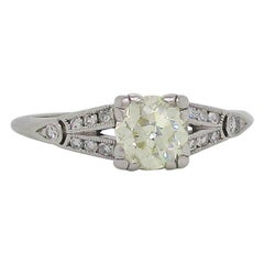 Art Deco Platinum and Fancy Yellow Diamond Engagement Ring
