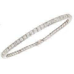 Art Deco  French Cut Diamond Platinum Line Bracelet