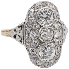 Art Deco Platinum and Gold 2.25 Carat Old European Cut Diamond Cocktail Ring