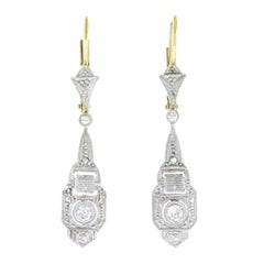Art Deco Platinum and Gold Chandelier Earrings