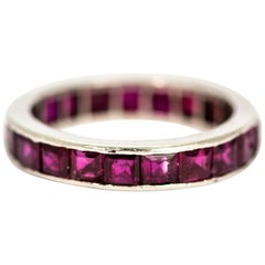 Art Deco Platinum and Ruby Full Eternity Band
