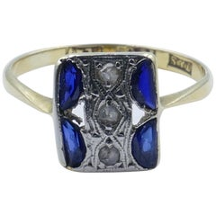 Art Deco Platinum and Yellow Gold Diamond and Sapphire Ring