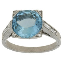 Art Deco Platinum Aquamarine Diamond Ring