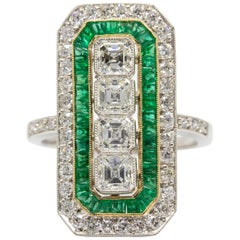 Art Deco Platinum Ascher Cut Diamond and Emerald Ring