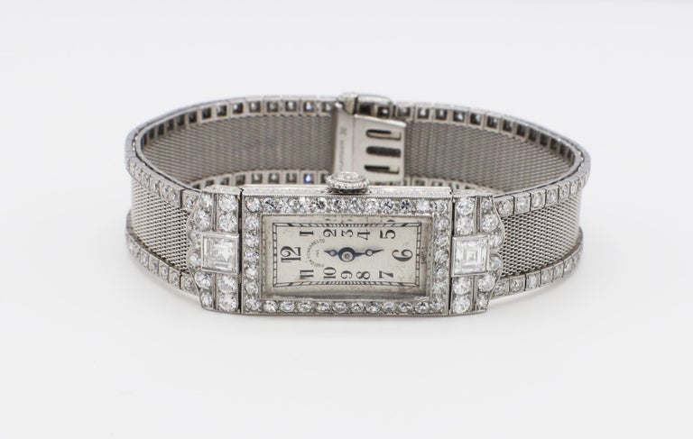 Art Deco Platinum Bigelow Kennard & Co. Diamond Ladies Dress Watch  Movement: Frodsham, 17 jewels, manual wind  Metal: Platinum Diamonds: Approx. 4.50 CTW F-G VS-SI1 Weight: 42.7 grams Length: 6.25 inches Width: 0.5 inches Crystal: Acrylic Dial: