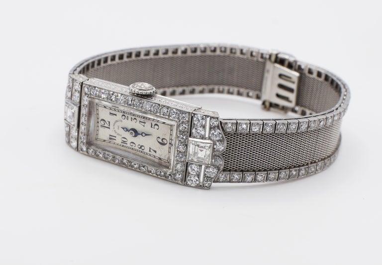 Round Cut Art Deco Platinum Bigelow Kennard & Co. 4.50 Carat Diamond Ladies Dress Watch
