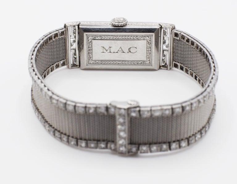 Art Deco Platinum Bigelow Kennard & Co. 4.50 Carat Diamond Ladies Dress Watch 1