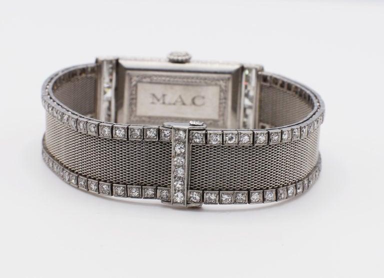 Art Deco Platinum Bigelow Kennard & Co. 4.50 Carat Diamond Ladies Dress Watch 2