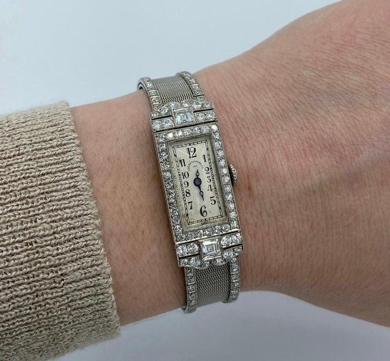 Art Deco Platinum Bigelow Kennard & Co. 4.50 Carat Diamond Ladies Dress Watch 4