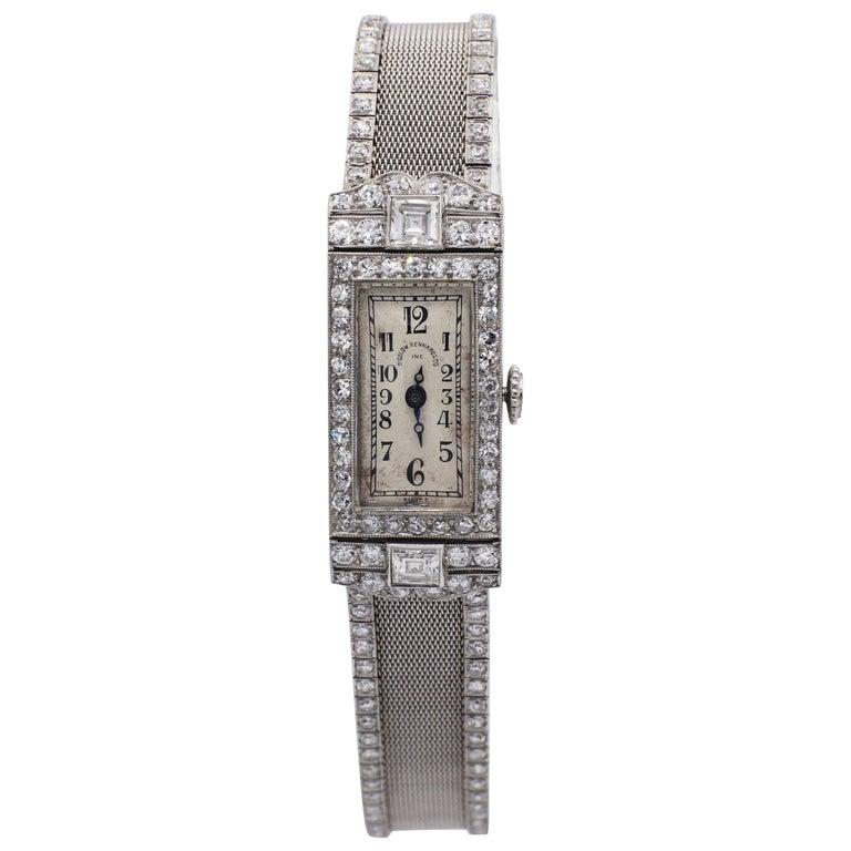 Art Deco Platinum Bigelow Kennard & Co. 4.50 Carat Diamond Ladies Dress Watch