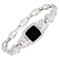 Art Deco Platinum Black Onyx and Diamond Watch Conversion Bracelet