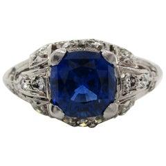 Art Deco Platinum Blue Sapphire and Diamond Ring