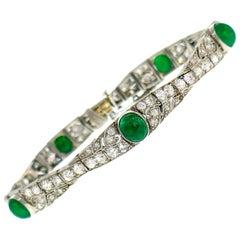 Art Deco Platinum Bracelet with Diamond and Emerald