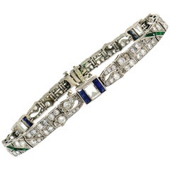 Art Deco Platinum Bracelet with Diamond Sapphire Emerald