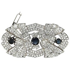 Art Deco Platinum Brooch, 3.70 Carat Black Diamonds and 5 Carat White Diamonds