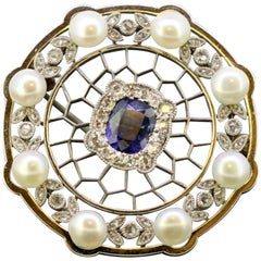 Art Deco Platinum Brooch with Blue Sapphire, Diamonds and Freshwater Pearls 1920