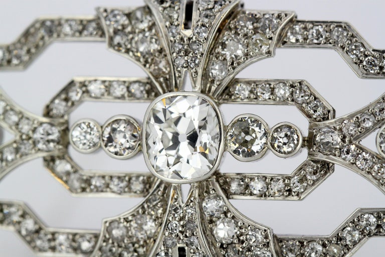 Women's or Men's Art Deco Platinum Brooch with Diamonds, 1920s For Sale