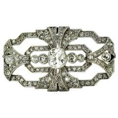 Art Deco Platinum Brooch with Diamonds, 1920s