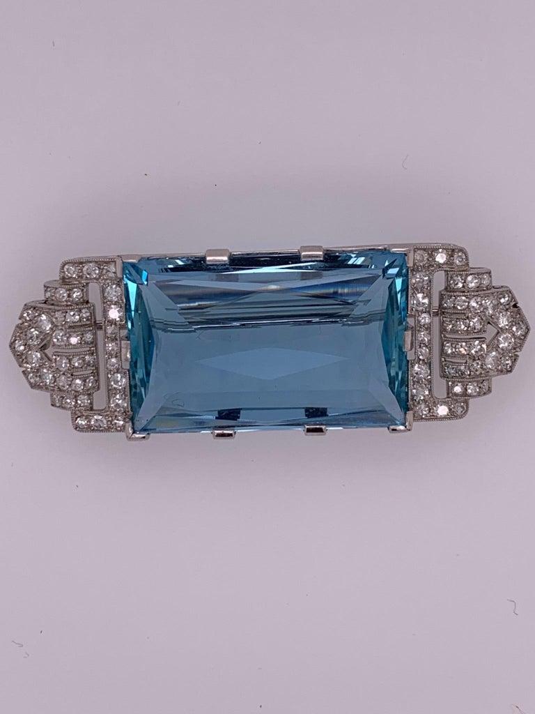 Women's Art Deco Platinum Brooch Original J.H. Werner Natural GIA Aquamarine and Diamond For Sale