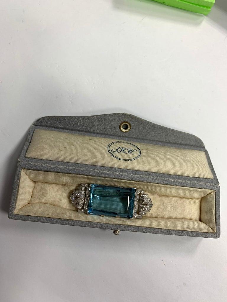 Art Deco Platinum Brooch Original J.H. Werner Natural GIA Aquamarine and Diamond For Sale 3