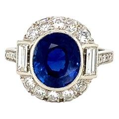Art Deco Platinum Burma Sapphire Diamond Cocktail/Engagement Ring