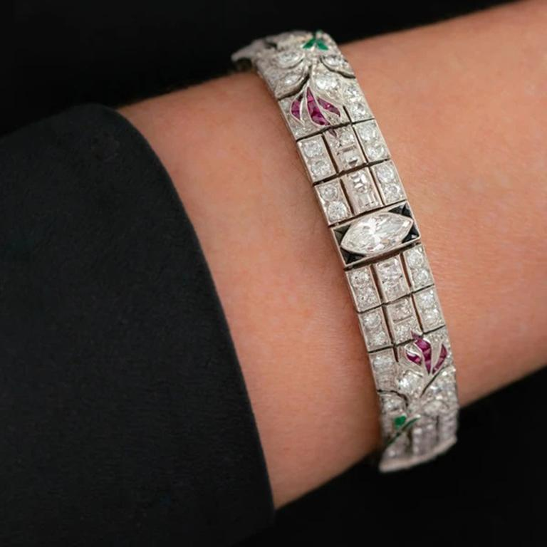 Women's Art Deco Platinum Carre Cut Diamond and Colombian Emerald, Onyx and Ruby For Sale