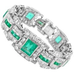 Art Deco Platinum Columbia Emerald and Diamond Bracelet