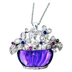 Art Deco Platinum, Diamond, Amethyst, Sapphire and Ruby Pin/Pendant, circa 1925